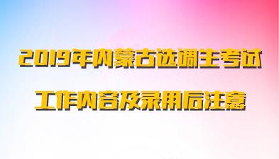 2019年内蒙古选调生考试工作内容及录用后注意事项