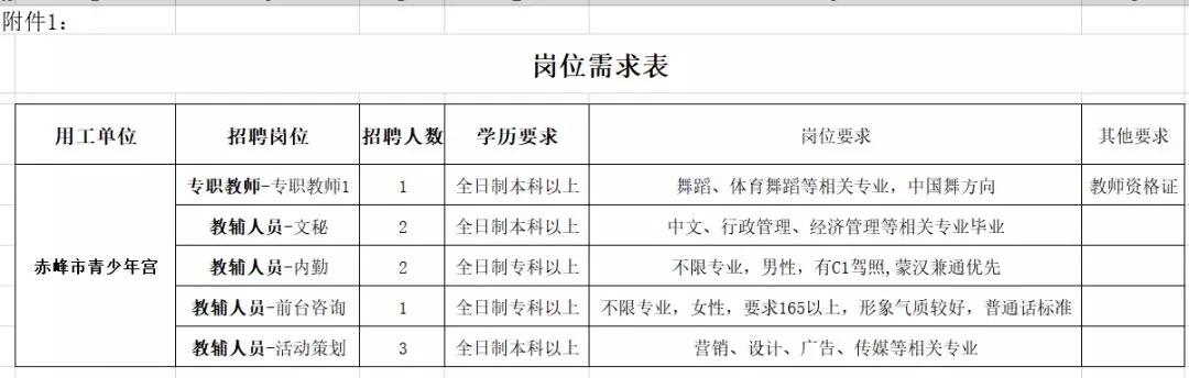 赤峰市青少年宫招聘9名工作人员职位表