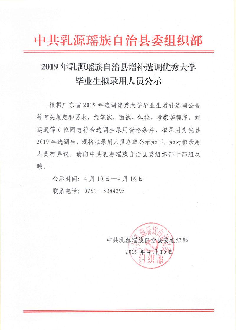 2019年韶关乳源瑶族自治县增补选调优秀大学毕业生拟录用人员公示