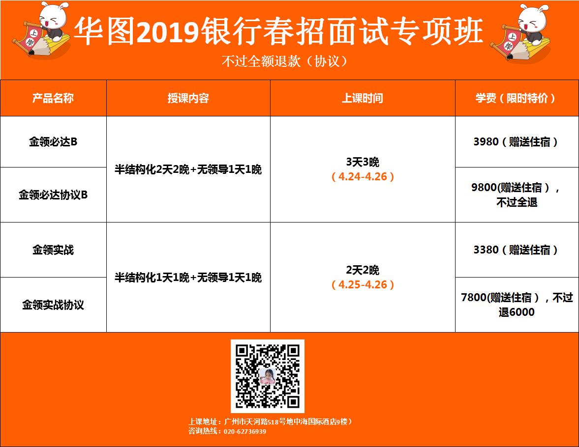 2019银行春招面试班课程表