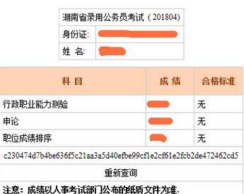 2019年湖南公务员考试成绩查询入口
