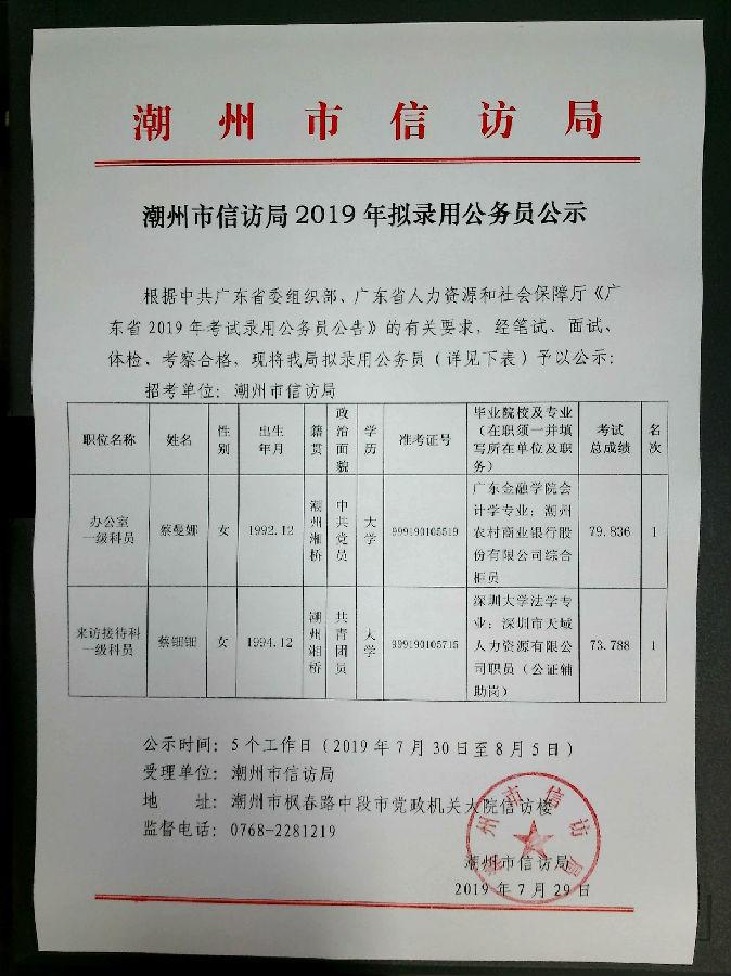 2019广东潮州市信访局公务员拟录用名单公示