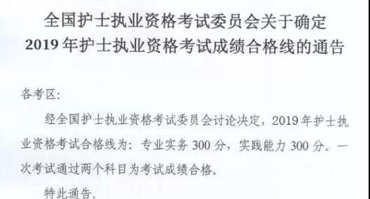 【官方】中國衛生人才網分數線_2019年護士資格考試分數線已定!