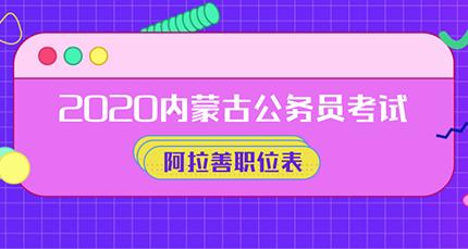 2020内蒙古公务员考试阿拉善职位表