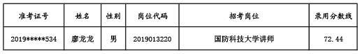 2019全军招考文职人员国防科技大学拟补录对象名单公示