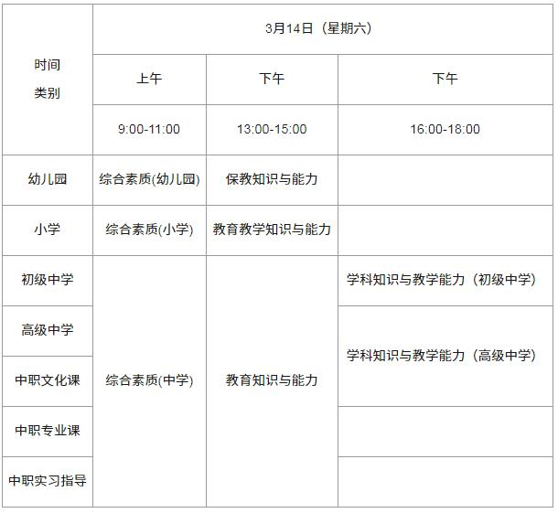 2020教師資格證考試時間安排