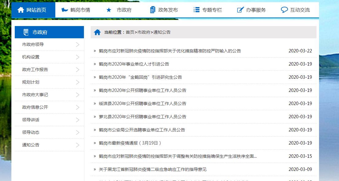 鹤岗市政府网站