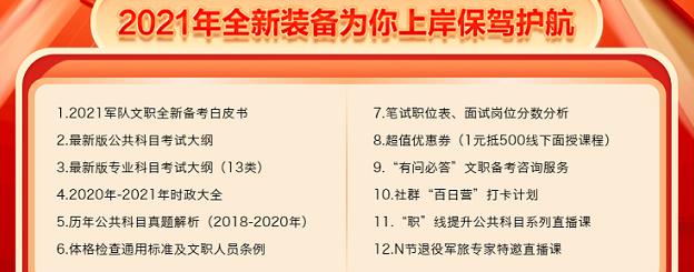 2021四川军队文职1元礼包