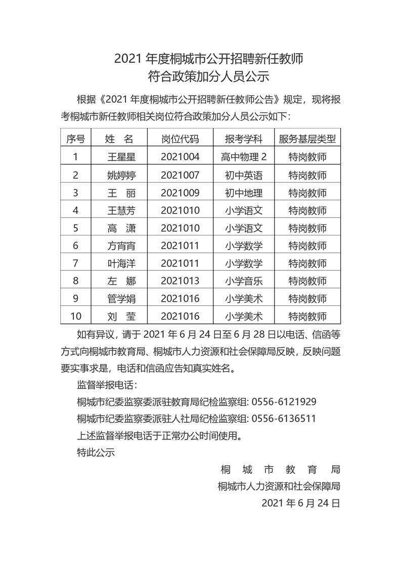 2021桐城市招聘新任教师符合政策加分人...